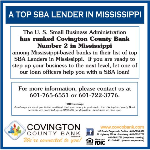 A top SBA lender in Mississippi, for more information please contact 601-765-6551 or 601-722-3776